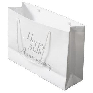 第50記念日の銀製の文字のテンプレートのギフトバッグ ラージペーパーバッグ