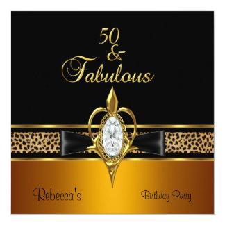 第50誕生会のダイヤモンドの宝石の金ゴールドの野生の黒 カード