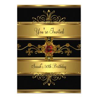 第50誕生会の豊富な金ゴールドの黒の赤の宝石 カード