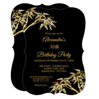 第50誕生会の金ゴールドの金タケ黒 カード