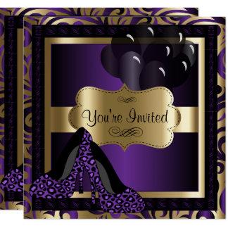 第50誕生会 の紫色のヒョウのハイヒール 13.3 スクエアインビテーションカード