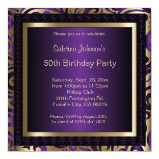 第50誕生会|の紫色の金属及び金ゴールド カード