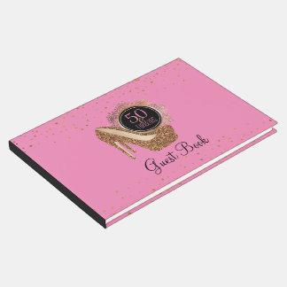 第50誕生会| 50及びすばらしいピンクの金ゴールド ゲストブック