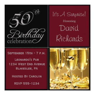 第50誕生会Burgandy及び銀を驚かして下さい カード