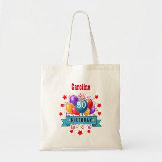 第50誕生日のお祝いのカラフルの気球C01DZ トートバッグ