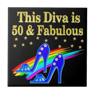 第50誕生日のすばらしい花型女性歌手のデザイン タイル