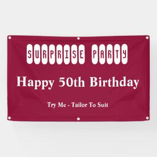第50誕生日のびっくりパーティ 横断幕