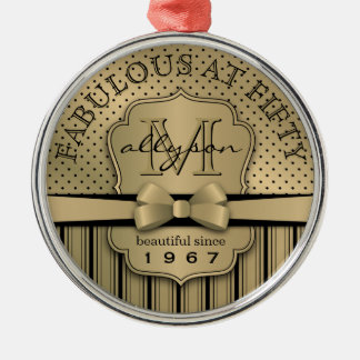第50誕生日のシャンペンの金ゴールドの水玉模様のストライプの弓 メタルオーナメント