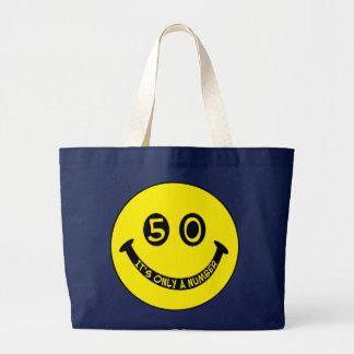 第50誕生日のスマイリーフェイス、それは唯一に数です! ラージトートバッグ