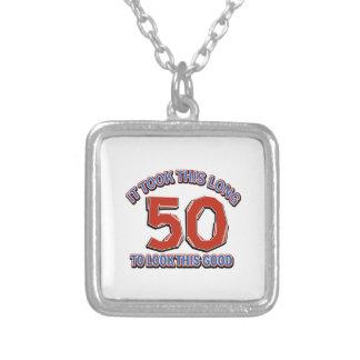 第50誕生日のデザイン シルバープレートネックレス