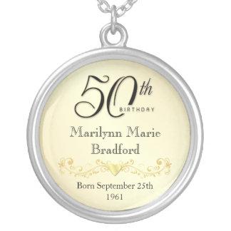 第50誕生日のネックレスの記念品のペンダント シルバープレートネックレス