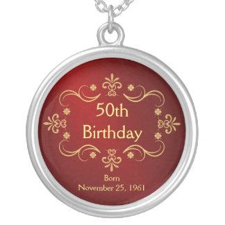 第50誕生日のネックレス-ヴィンテージフレームのペンダント シルバープレートネックレス
