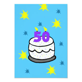 第50誕生日のパーティの招待状50本の蝋燭のケーキ 12.7 X 17.8 インビテーションカード