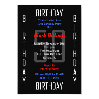 第50誕生日のパーティの招待状50 12.7 X 17.8 インビテーションカード