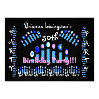 第50誕生日のパーティの招待状-青い蝋燭 カード