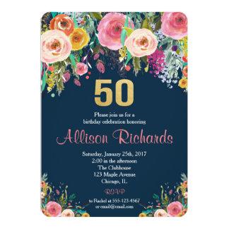 第50誕生日の招待の花の水彩画海軍 カード