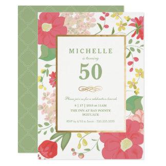 第50誕生日の招待状-金ゴールド、エレガントな花 カード