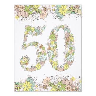 第50誕生日の自然な開花の女性写真の招待 カード
