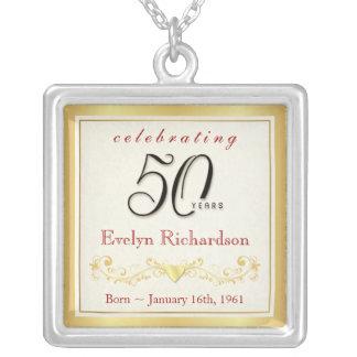 第50誕生日プレゼント-エレガントな記念品のペンダント シルバープレートネックレス