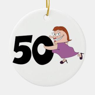 第50誕生日プレゼント-彼女のためのおもしろいな漫画 セラミックオーナメント