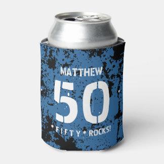 第50誕生日50の石の青くグランジなパターンF50Z 缶クーラー