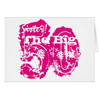 第50誕生日、姉妹、白のピンクの文字 カード