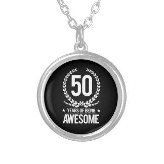 第50誕生日(素晴らしい50あ年間の) シルバープレートネックレス