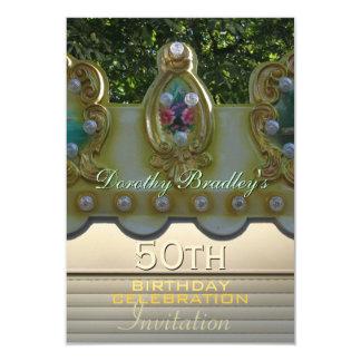 第50誕生祝いの回転木馬のカスタムな招待 カード