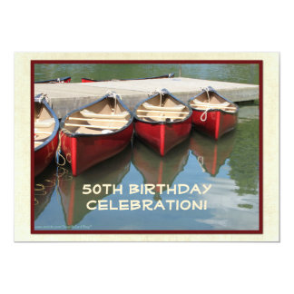 第50誕生祝いの招待状、赤いカヌー カード