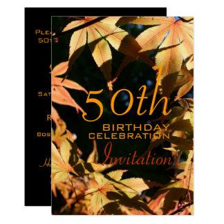 第50誕生祝いの秋のカスタムの招待状 カード