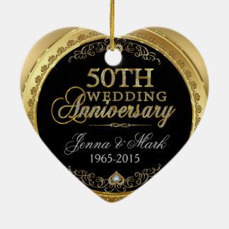 第50金ゴールドの結婚記念日 セラミックオーナメント