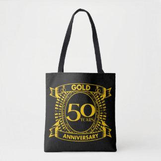 第50金ゴールドの結婚記念日 トートバッグ