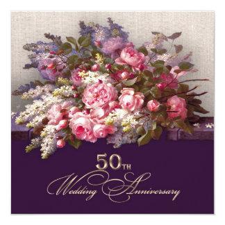 第50金結婚記念日のパーティの招待状 13.3 スクエアインビテーションカード