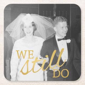 第50金結婚記念日の名前入りな写真 スクエアペーパーコースター
