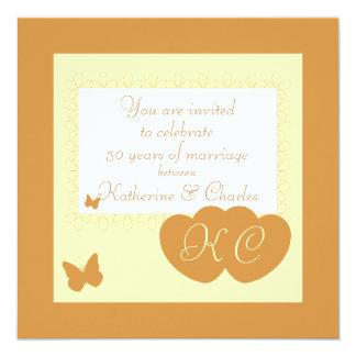第50金結婚記念日の招待状 13.3 スクエアインビテーションカード