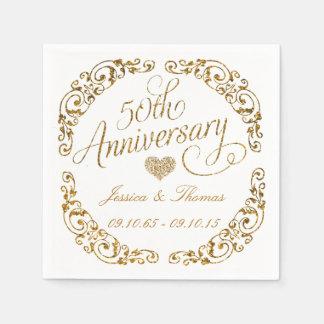 第50金結婚記念日の紙ナプキン スタンダードカクテルナプキン