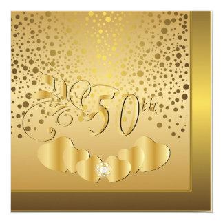 第50金結婚記念日 13.3 スクエアインビテーションカード