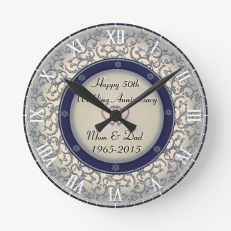 第50銀製の結婚記念日 ラウンド壁時計