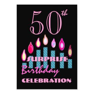 第50驚きの誕生会の招待の青の蝋燭 カード