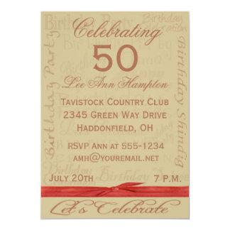 第50 -第59バースデーパーティ招待状 カード