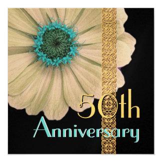 第50 -第59記念日の招待状-金ゴールドのデイジー カード