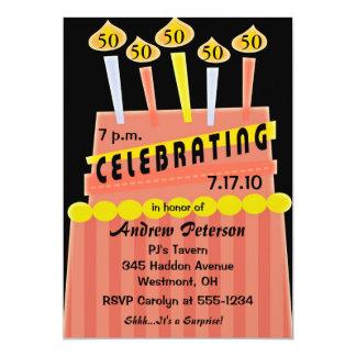 第50 -第59誕生会の名前入りな招待状 カード