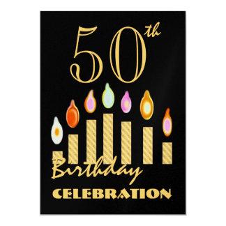 第50 -第59誕生日のパーティの招待状の金ゴールドの蝋燭 カード