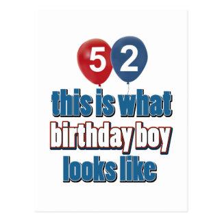 第52歳の誕生日のデザイン ポストカード