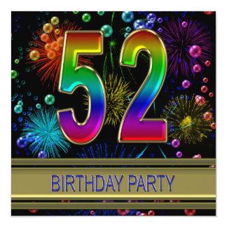 第52泡を持つ誕生日のパーティの招待状 カード