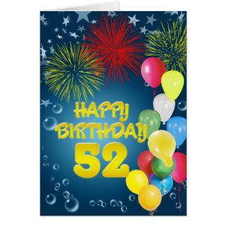 第52花火および気球が付いているバースデー・カード カード