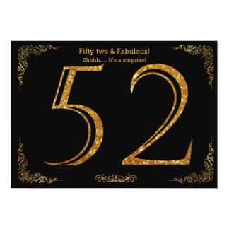第52誕生会、Gatsbyのstyl、黒い金ゴールドのグリッター カード