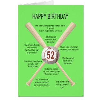 第52誕生日の野球の冗談 カード
