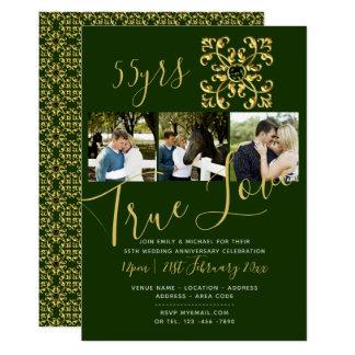 第55エメラルド記念日の写真の緑の招待 カード