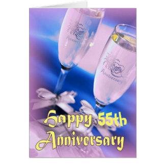 第55結婚記念日のシャンペンのお祝い カード